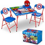 Delta Children 4-Piece Kids Furniture Set (2 Chairs and Table Set & Fabric Toy Box), Marvel Avengers