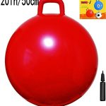 AppleRound Space Hopper Ball with Air Pump: 20in/50cm Diameter for Ages 7-9, Hop Ball, Kangaroo Bouncer, Hoppity Hop, Jumping Ball, Sit & Bounce (Plain Red)