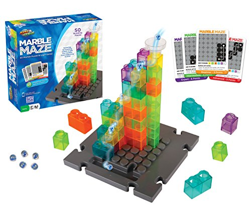 Marble Genius Marble Maze - 50 Building Pieces + 60 Challenge Cards + Free App