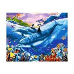 Jigsaw Puzzle 1000 Piece 3D Puzzle Dolphins Animal DIY Wall Art &Calligraphy Home Decor Picture