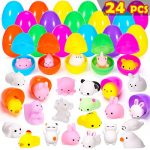 YEAHBEER 24 PCS Mochi Squishy Easter Egg Filled Stress Relief Toys-Kawaii Animal Unicorn Squichies Toy for Kids, Easter Hunt,Easter Theme Party Favor, Basket Stuffers Fillers, Classroom Prize Supplies