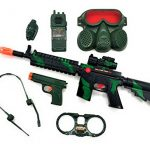 Military Friction Combat Force 7 Piece Boys Toys Playset, Boys Action Playset w/ Friction Gun M16 , Handcuffs , 9 mm Pistol , Headphones , Gas Mask & Accessories , Kids Military Combat Playset