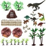 30 Piece Dinosaurs Toys Set - Plastic Dinosaurs Figures, Realistic Dinosaurs Trees & Rocks,Dinosaur Eggs and Nest,Kids Dinosaurs Toys Set for Boys and Girls