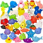 Assorted Rubber Duck Animals, 40 Pack Mini Bath Toys – for Girls and Boys, Babies, Toddlers and Children – Perfect for Gift Grab Bags and Party Favors