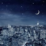 DDTOP 1000 Piece Size 30 x 20 Inch Wooden Moon Light New York City Skyline Basswood Premium Quality Jigsaw Puzzle,New York Moon Starry Night View Puzzle