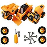 ToyVelt Construction Take Apart Trucks STEM Learning Toys, W Toy Drill - Dump Truck, Cement Truck & Digger Toy, with Drill Included, Great Gift for Boys & Girls Ages 3 - 12 Years Old