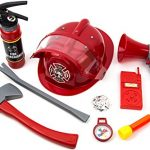 Toysery Fireman Costume for Kids - 10 Piece Firefighter Role Play Kit with Fire Extinguisher Helmet and Other Accessories for Boys and Girls