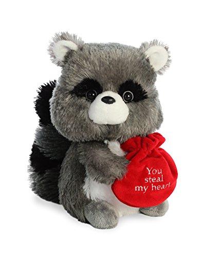 Aurora World Val Sayings Steal My Heart Raccoon Plush Animal, Multicolor, 9