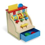Melissa & Doug Spin and Swipe Wooden Toy Cash Register with 3 Play Coins, Pretend Credit Card