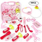 JoyGrow Doctor Kit with Electronic Stethoscope 19 PCS Pretend Play Medical Toys Set Pack in Pink Durable Gift Case Doctor Toys for Girls and Kids