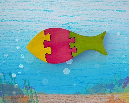 storeindya Fish Shaped Wood Jigsaw Puzzle Brain Teaser Game Educational Learning Puzzles 3D Toys for Kids Girls Accessories (Fish)