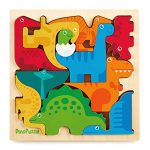 "Dinosaur Puzzle 3D Wood Jigsaw for Toddlers & Kids Age 3 +, 11""x 11"" x .5"" :: Bright, Colorful Shape Sorting :: Promotes Play, Imagination, Creativity & Learning :: Non Toxic :: Super Fun Gift"
