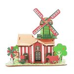 "Hisoul 3D Wooden Puzzle Toy Kids Intelligence DIY Building Model Dollhouse Style House Jigsaw Puzzle Toys, Best Educational Gifts for Boys and Girls - 14.57""x9.06""x0.2"" (I)"