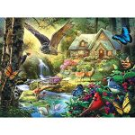 Bits and Pieces - 300 Piece Jigsaw Puzzle for Adults - Forest Cottage - 300 pc Owl and Butterfly Jigsaw by Artist Larry Jones