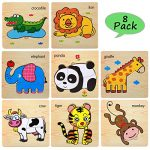Wooden Jigsaw Puzzles for Toddlers Age 2 3 4 5 Year Old | Preschool Animals Puzzles Set for Kids Children | Shape Color Learning Educational Puzzles Toys for Boys and Girls (8 Pack)