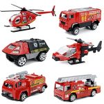 MinYn 6 PCS Fire Engine Vehicles Truck Die Cast Alloy Mini Rescue Emergency Car Model Fire Truck Toy Playset for Boys Kids