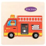 Roysberry Toys Kids Wooden Puzzles Toys Fire Truck 3D Puzzle Shape Color - Birthday Gift Christmas Halloween Toy Jigsaw Puzzles for Kids Ages 4-8