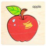 Powerfulline Wooden Fruit Vegetable 3D Jigsaw Puzzles Developmental Toy Square Board Children Educational Toy Apple