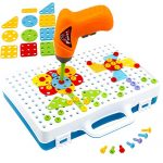 NEWBEGIN Drill & Play Creative Educational Toy with Real Toy Drill-Games Tool Set 144PCS, Develop Children&Kid's Creativity and Imagination - Best Kids Toys for Age 3+