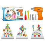 Zeliku Building Block Games Set With Toy Drill & ScrewDriver Tool set   Educational building blocks construction games  Develop Fine Motor Skills - Best Kids Toys for boys & girls age 3 - 14 year olds