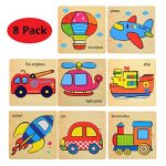 Ouflow 8Pcs Wooden Jigsaw Puzzles for Toddlers 1 2 3 4 Years Old,Preschool Learning Educational Wooden Puzzles Toys Gift Set with Vehicles Car Ship Shape Bright Color for Boys and Girls