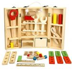 Weksi Wooden Tool Toys Toolbox Kids Toy Educational Toy DIY Construction Toolbox Pretend Toys Portable for Family Games Birthday 43pcs