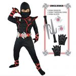 Spooktacular Creations Boys Ninja Deluxe Costume for Kids with Ninja Daggers and Throwing Stars (M 8-10)
