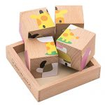 Premium Animal 3D Block Puzzle (6 in 1) with Wood Storage Tray for Preschool Age Toddlers 3, 4 - Colorful Solid Wooden Small Cube Forest Animal Pieces - Hippo Lion Elephant Sheep Giraffe Cow
