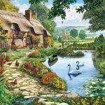 White Mountain Puzzles Lakeside Cottage - 1000 Piece Jigsaw Puzzle