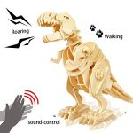 ROKR DIY 3D Walking T-rex Wooden Puzzle Game Assembly Sound Control Dinosaur Toy Gift for Children Adult