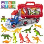 Prextex DIY and STEM Dinosaur Toys Carrier Toy Truck - 12 Realistic Looking Dinosaur with Take-Apart Detachable Carrying Case and Tools
