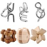 IQ Test Toy, WOLFBUSH 6Pcs Ultimate IQ Test Metal Brain Teaser Puzzles Disentanglement Puzzles Toy