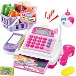 SONiKi Cash Register Pretend Play Supermarket Shop Toys with Calculator ,Working Scanner,Credit Card ,Play Food ,Money and More.(Color May Random)