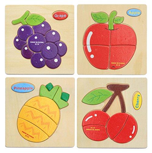 Hillento 3D Wooden Puzzles Jigsaw Educational Toys Puzzle for Toddlers Kids - Educational Puzzle Toys Set, Educational & Sensory Learning for Toddlers, Set of 4(Grape, Apple, Cherry, Pineapple)