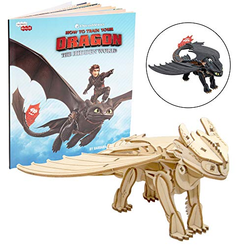 DreamWorks How to Train Your Dragon: Hidden World Toothless Book and 3D Wood Model Figure Kit - Build, Paint and Collect Your Own Wooden Model - Great for Kids and Adults, 8+ - 7