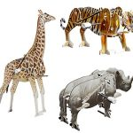 "Smithsonian Mini 5"" Safari Animal Assortment 3D Build & Play Motorized Puzzle Pack"