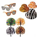 Safari Wild Animal Toy Party Favor Supplies 36 Piece Set for 12 Bundle Hats Folding Fans Sunglasses