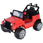Costzon Kids Ride On Jeep Truck Car 12V Remote Control Vehicle with Twin Motor LED Lights Music MP3 (Red)