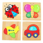 Ouflow 4Pcs Wooden Jigsaw Puzzles for Toddlers with Animals,Car,Airplane Patterns Boys and Girls Educational Preschool Toys 1 2 3 Years Old Baby Gifts,Bright Vibrant Color Shapes