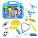 Doctor Kit Set Dr Pretend Role Play Medical Doc Equipment Nurse Dentist Case Stethoscope Toy Gift for Kids Toddlers Boys Girls Age 3+, Random Delivery