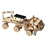 ROBOTIME 3D Assemble Puzzle Removable Solar Power Toy Wooden STEM Project Craft Kits Best Birthday Gifts for Teend and Adults(Hermes Rover)