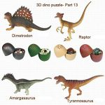 ZWL 3D Dinosaur Puzzle in Jurassic Egg Educational Assembly Kit   Ideal Kids Dino Figure Party Favors Bulk Supplies (Set of 4) (7566)