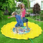 "Candywe Splash Pad Kids Toys, 68"" Sprinkle and Splash Play Mat Pad Toy for Children Infants Toddlers Boys Girls and Kids,Water Toys for Summer Fun Backyard Water Play Mat Outside Toys for Kids"