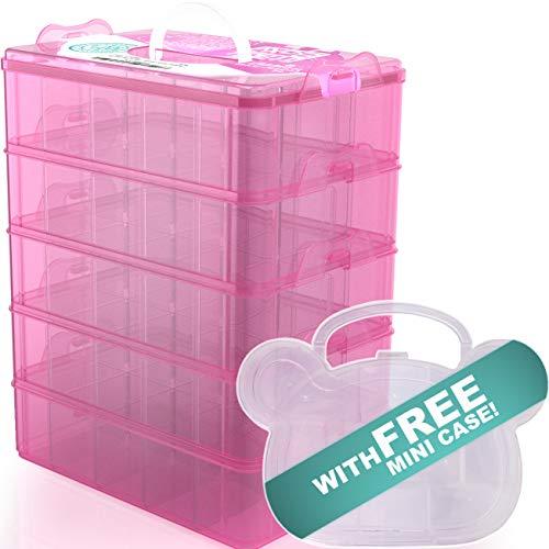 STACK BOXX Stackable Storage Bins (Pink) +Free Mini Case | Be Clutter-Free, Be Happy! 5 Layer Container w/Handle -Perfect Solution for Kids Toy Storage, Art Supply, Jewelry, Closet & Desk Organizer