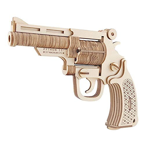 3D Wooden Puzzle , DIY Revolver Gun Model Toys Jigsaw Brain Teaser Gift for Kids ,Teens and Adults by GreenLF
