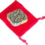 SQUARE Hanayama Cast Metal Brain Teaser Puzzle _ Bonus Red Velveteen Drawstring Pouch _(Level 6 Difficulty) _ Bundled Items
