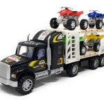 Transporter Truck Toys - Children's Fiction Tow Truck - 4 ATV Car Toys Included - No Batteries Required - Action Vehicles - Ideal Gift for Kids, Boys and Girls