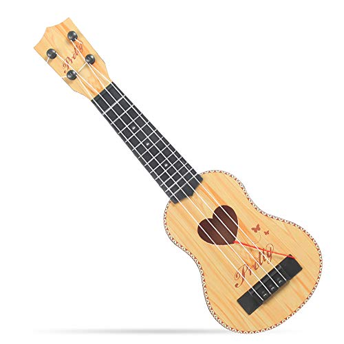 YASSUN Wooden Children's Mini Guitar Toy, Mini Four-String can Play Enlightenment Early Childhood Music Toy Guitar(Light Brown)