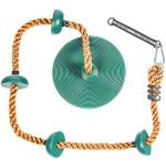 Tree Climbing Rope and Kids Swing: Climbing Rope for Kids with Foot Hold Platforms, Disc Tree Swing Seat, and Hanging Kit with Tree Strap - Outdoor Swings and Swing Set Accessories - Rope Swing, Green