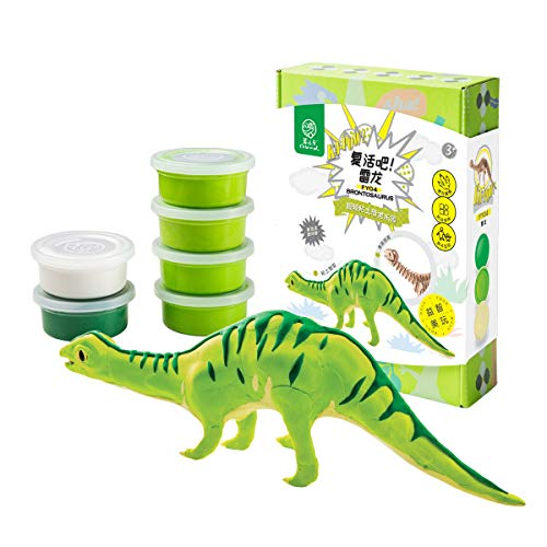 ROBUD Kids Modeling Air-Dry Clay-Creative Dinosaur Art DIY Crafts-3d Wooden Skeleton Puzzle-Dinosaur Play Set for Boys Girls Toddlers-Best Toy Birthday Gift(Brontosaurus)